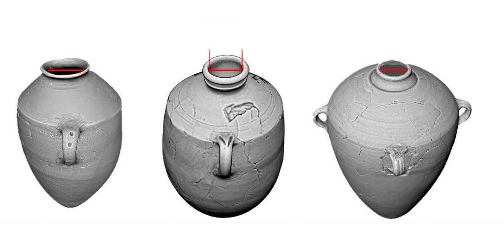 L-R Storage jars from Khiyife, Hippo, Lmlk. Inner rim diameter outlined in red.