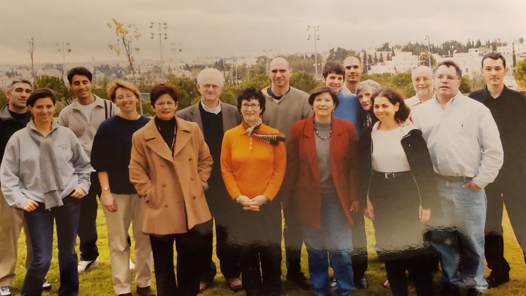 Sarah with her mother and other alumni on the 2002 HU Alumni mission