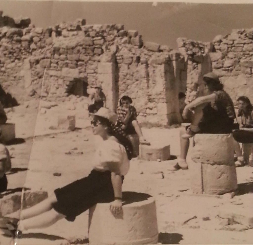 Sarah's mother on the tallest ruin on the right during post-grad studies at HU in 1950.