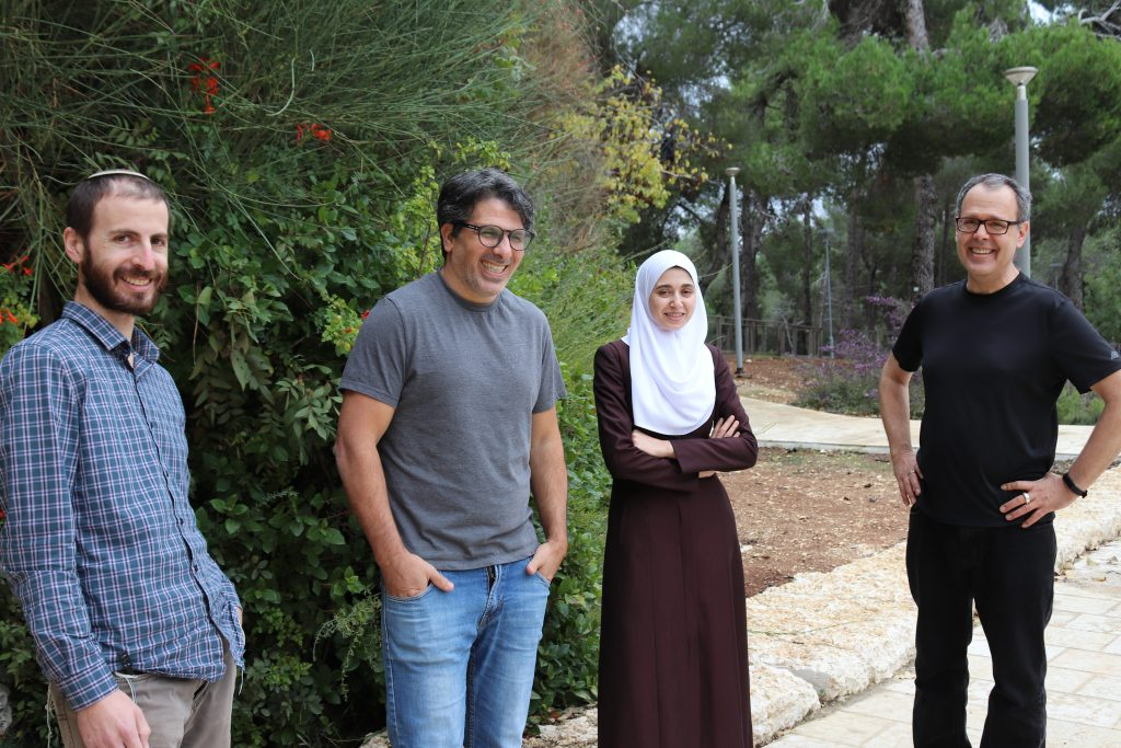 The research team (L-R) Gavriel Fialkof (Ph.D. student), Dr. Ronen Sadeh, Dr Israa Sharkia, and Prof Nir Friedman Photo credit: HU